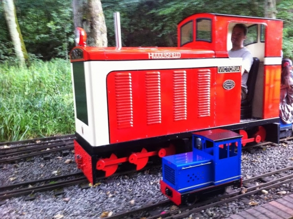 "You can go very large with narrow gauge 7 1/4, Victoria is 27"" wide, the other loco is a 5"""