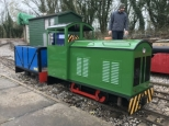 "Petrol hydraulic ""Brian.a"" returning to Foxfield after winter overhaul"